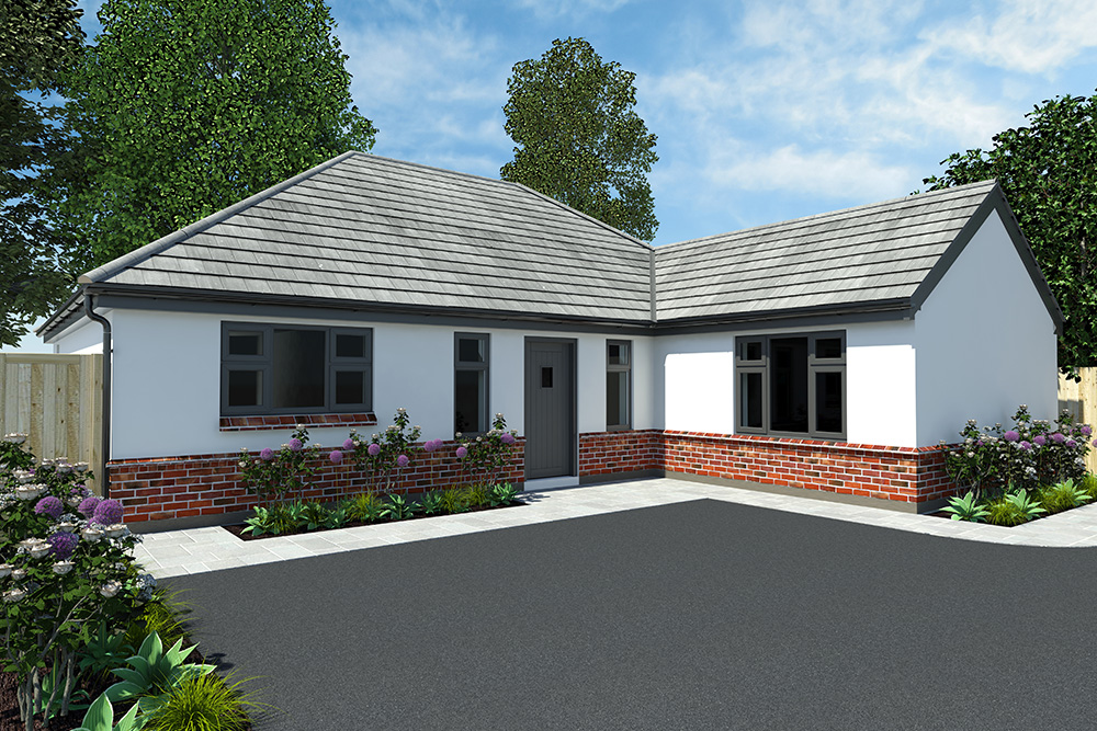 An architectural visual of a bungalow with grey window frames and a low wall brick detail