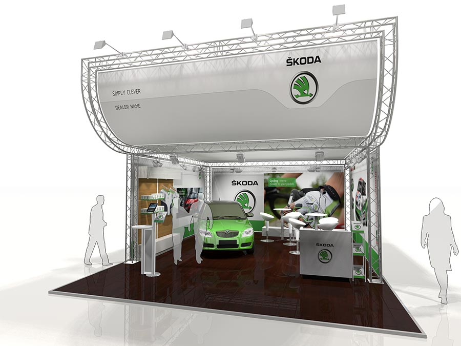 A Skoda Lighting Gantry Exhibition Stand Design with a curved front fascia