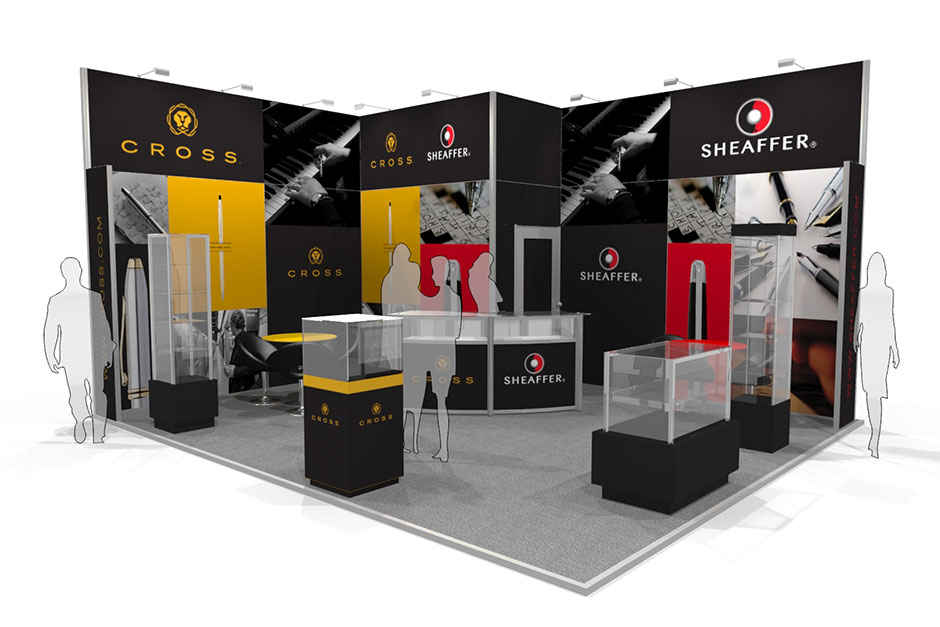 Fabric Exhibition Stand Design : Cross pens modular tension fabric exhibition stands
