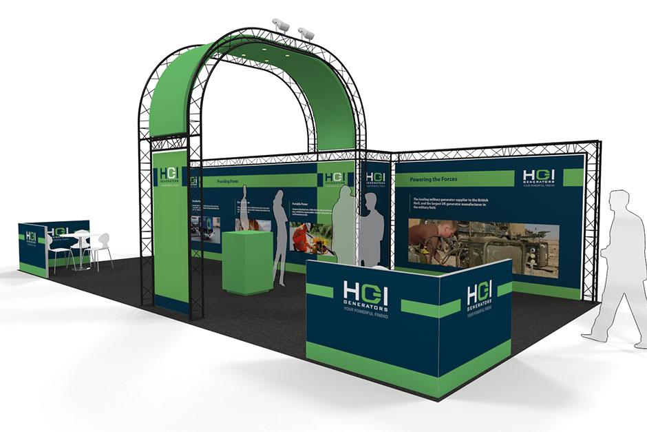 a rendering of HGI Generators Lighting Gantry Exhibition Stand design