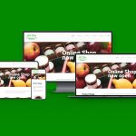 A mockup showing the green kitchens website of 4 different sized devices