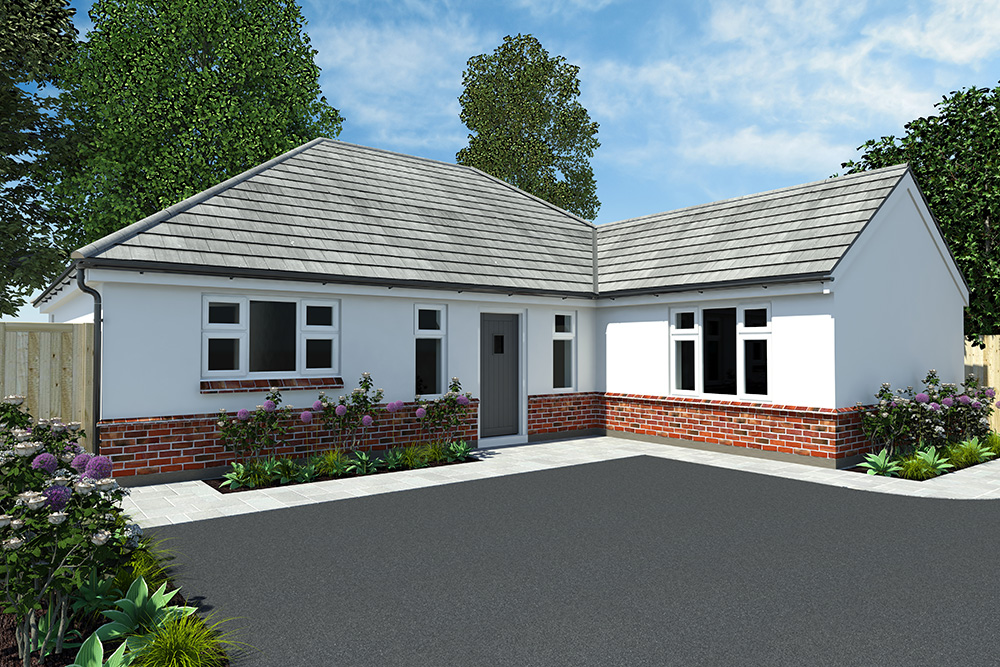 An Architectural Visual of a white Bungalow with low level brick work