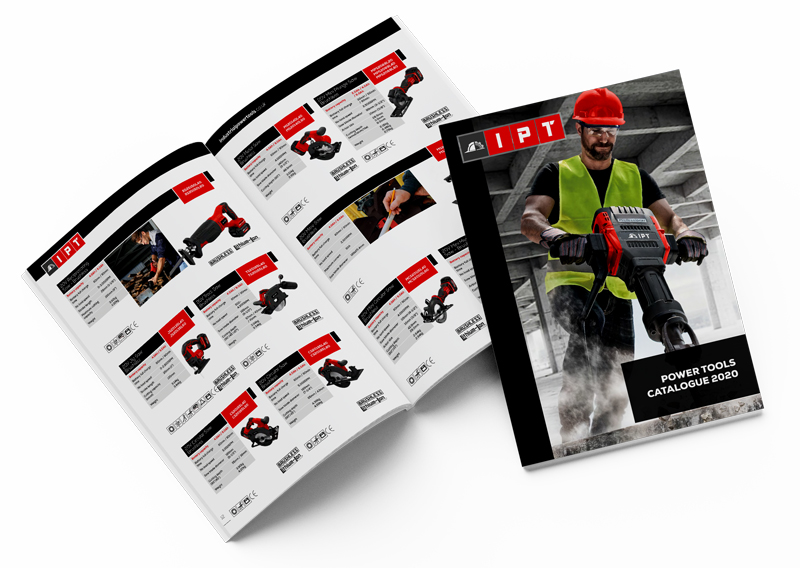 graphic design of a power tool catalogue for ipt powertools, open page displaying battery tools