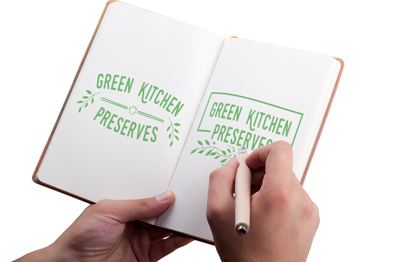an example of graphic design of a logo in a sketchbook for green kitchens