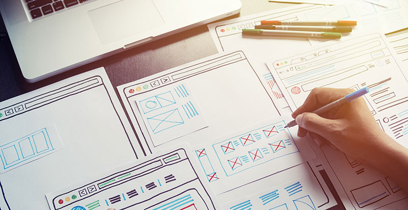 sketching out website design layout ideas