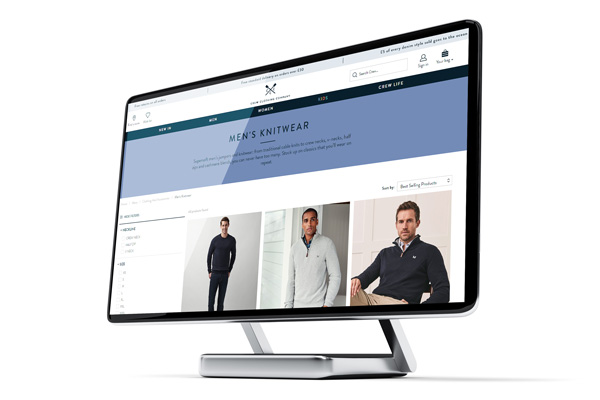 a computer monitor displaying the crew clothing fashiion ecommerce website design