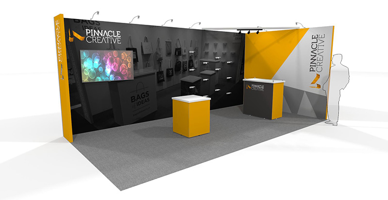a visual of a tension fabric exhibition stand package including a display pod, shelving, a tv and reception desk