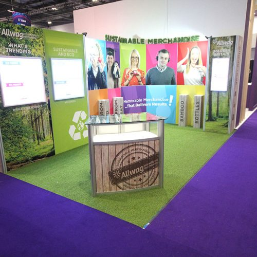 Allwag Exhibition Stand at Confex, London ExCeL, Featuring curved tension fabric graphics, lockable product displays and a reception desk